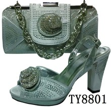 Unique silver new arrival Italian style women high heel shoes match bag with stones in high quality on wholesale price