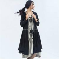 2014 Latest fashion elegant long sleeve black cardigan trench coat for ladies western like plus size cardigan coat