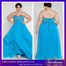 Elegant Baby Blue A-line Sweetheart Crystal Beaded Sleeveless Lace-up Back Mature Big Size Women Dress Evening Dress SC043