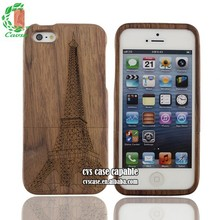 Fashion Design Natural Walnut Wood Case With The Eiffel Tower For Iphone 5