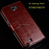 Luxury Hybrid Wallet Case Flip Back Cover Case Genium Leather Case for Samsung Note2 N7100/7108/719