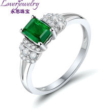 White Women Wedding Ring 18K Gold Emerald Cut 4x6mm Solid Natural Emerald