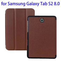 2015 New Arrival 3 Folding Pattern Karst Texture PU Leather Folio Design Leather Case For Samsung Tab S2 8.0 Made in China