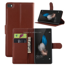 for huawei p8 lite case, Litchi Design With Credit Card Sltos Wallet Stand Flip leather case for Huawei P8 Lite