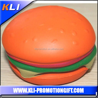 Lively Hamburger shaped pu squeeze ball