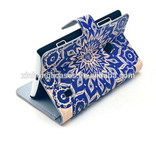 PU Leather Flower Pattern Cover Full Body Case with Card Slot for Nokia Lumia N520