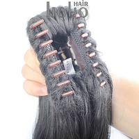 Claw clip kids ponytail human hair extension 260g