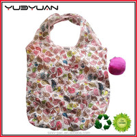 2015 hot selling eco-friendly shopping bag floral printed polyester portable folding and foldable shopping bag