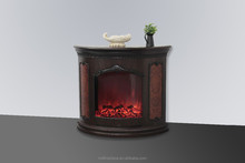 decorative half round electric fireplace with wood buring