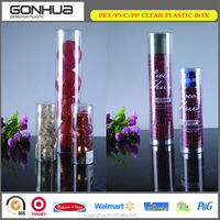 Factory wholesale cheap accept small order custom cosmetic bottles clear transparent plastic cylinder tubes