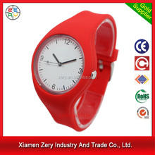 R1096 Good quality watch gift case, fashion soft silicone strap slim watch for men