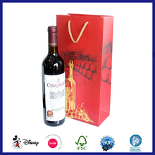 Customized designed 2 bottle wine paper bag