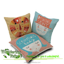 Cartoon anime bedding yellow lion pink lady and blue gentleman cushion cover for flooring
