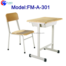 FM-A-301 Wood Cheap single student desk and chair for school