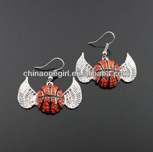 Rhinestone Winged Basketball Dangle Earrings