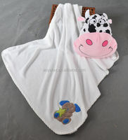 super soft coral fleece baby /kid's blanket with cartoon embroidery