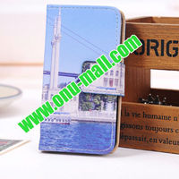 Building Style Stand Wallet Leather Case for iPhone 5 With 3 Card Slots