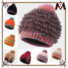 Hot sale ladies colorful design handmade cotton knit crocheted hat for winter