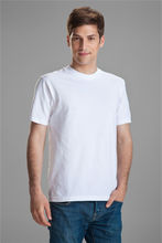 Plain white custom LOGO men t shirt made of 100% cotton in stock, advertisement men t shirt wholesale cheap price.