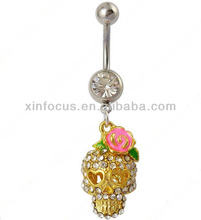 yellow skeleton navel rings with rose flower