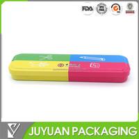 Tin pencil case with hinge for children/plastic pencil case
