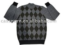 round neck men's jacquard sweater with long sleeve