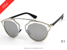 Latest Novelty Designer Metal Sunglass with PC Temple LY1046