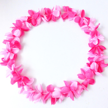 enthusiastic hawaii necklace flower garland for carnival day/multi color petal lei for girls/nice flower wreath with slik ribbon