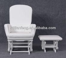 2015 New Comfortable Popular Modern White PU Wooden Glider Chair Ottoman