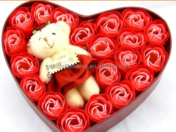 pas cher en forme de coeur rose fleur de savon cadeau pour. Black Bedroom Furniture Sets. Home Design Ideas