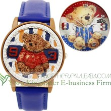 Latest design cute resin bear decor kids watch quartz leather belt flip watch wholesale
