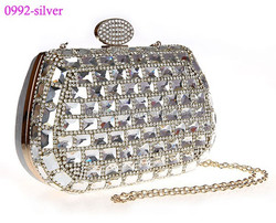 0992-silver luxury fashion ladies evening clutch bag