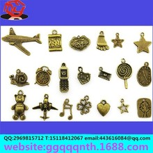 metal bronze antique Aircraft/star/heart/sole of the foot /lollipop/bear/music symbols/clock/clovers alloy pendant for jewelry