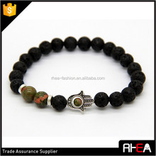 Hot sale 2015 trendy lava stone beaded stretch bracelets,fatima charms handmade elastic bracelet