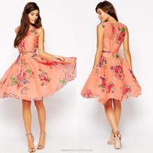 OEM Wholesale 100% Polyester Sleeveless tie waist red wedding short prom dresses 2015