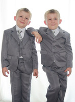 Custom Made Gray Three Buttons Boy Suits Party Dress Dinner Wear(Jacket+Pants+Tie+Vest+Shirt) NS002 Wedding Party Dresses