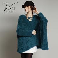 Vanillachocolate Designer Euro Style Sweater 2015 New Autumn&Winter Loose Irregular Long Pullover Leisure Sweaters