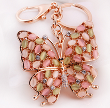 Buy Direct From China Factory Opal Stone Butterfly Keyring Promotional Gift Butterfly Keychain