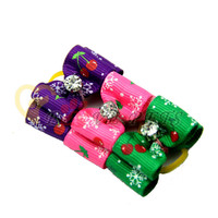 V1047 Christmas Handmade Cat Dog Accessories Snow Printing Solid Pet Dog Hair Bows Factory Produce Fast Shipping