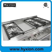 Hyxion Brand cooking range parts 6 burner stainless steel gas cooker parts