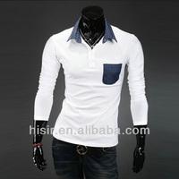 2014 new men's slim little collar long sleeved POLO shirt Y411-BP10