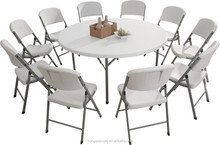 6ft plastic round folding table, 180cm blow mold high quality dinning table, big folding round banquet table from China supplier