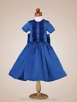 Charming A Line Short Sleeve Above Knee Royal Blue Flower Girl Dress