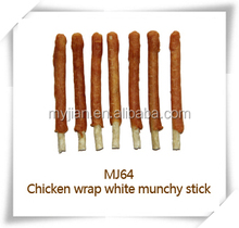 chicken wrap white munchy stick MJ64 pets snacks dry bulk dog training treat food chew natural manufacturers