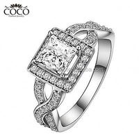 Really 925 Sterling Silver Square Zircon Wedding Ring So brilliant Surrounded By Tiny Zircon Clusters Of Jewelry ENG-005