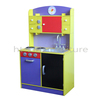 DK005 60x32x(H)96cm E1 MDF Easy Assembly Euro Kids Kitchen Set Toy With Cabinet And Plastic Accessories, Wooden Kitchen Toy