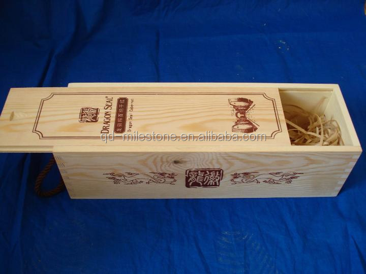 unfinished wooden craft case for red wine storage