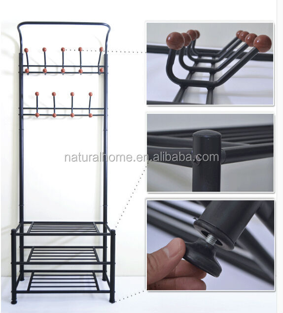 Home Furniture Metal Hat Stands Coat Hanger Stand With Shoe Rack Custom Hat And Coat Rack Stand