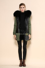 Fashion winter hooded coats be warm black lined fur collar womens 100% leather jackets
