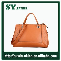 Gold China supplier women bag high quality genuine leather handbag OL office lady bag